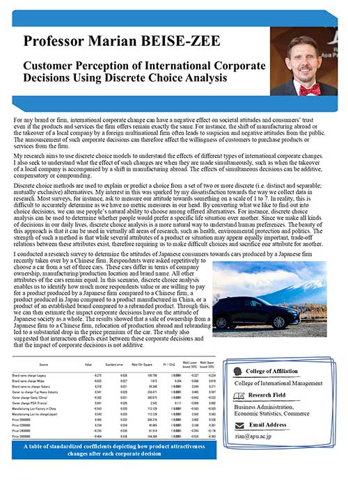 Customer Perception of International Corporate Decisions Using Discrete Choice Analysis