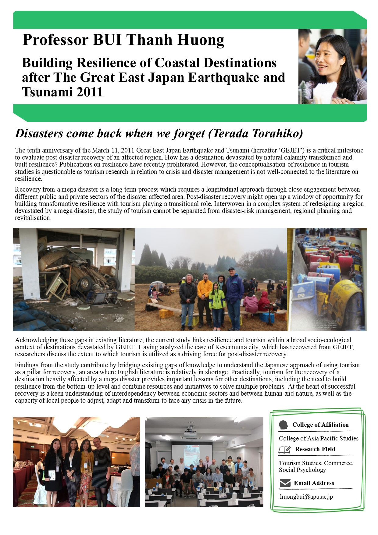 Building Resilience of Coastal Destinations after The Great East Japan Earthquake and Tsunami 2011